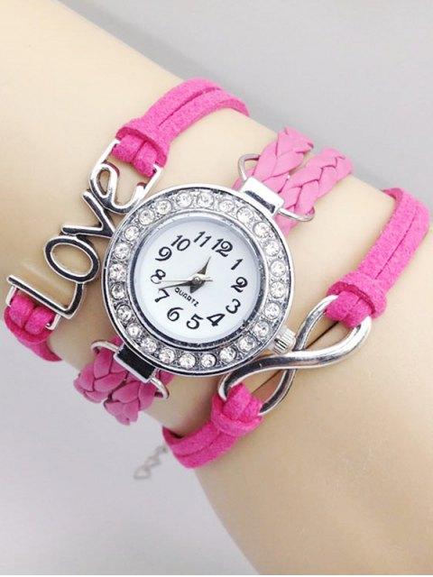 affordable Love Braided Quartz Bracelet Watch - PINK  Mobile