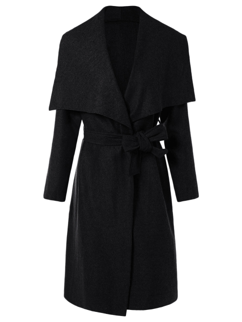 outfits Tie Waist Shawl Collar Wrap Coat - BLACK L Mobile