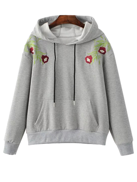 women's Drawstring Flower Embroidered Hoodie - GRAY S Mobile