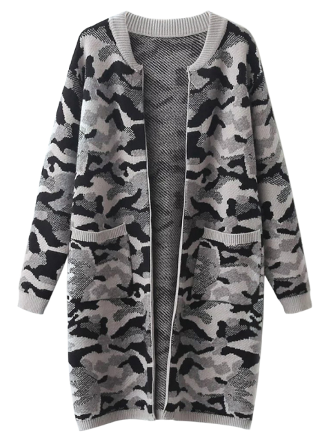 shops Camoflage Longline Cardigan - GRAY ONE SIZE Mobile