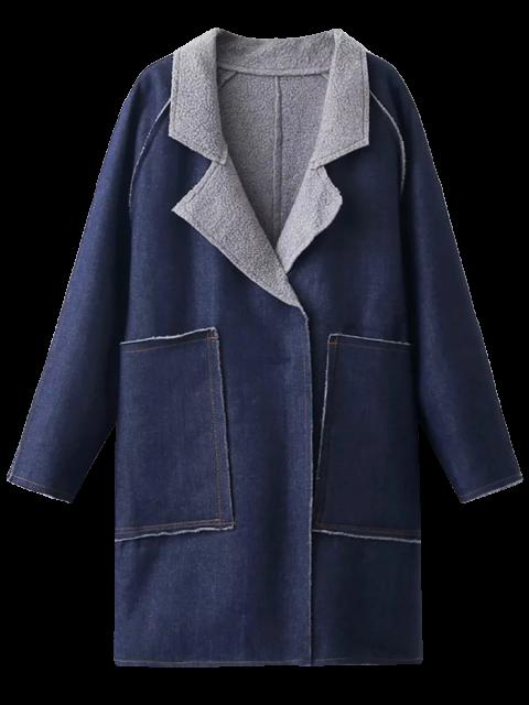 outfits Fleece Lined Denim Oversized Coat - DEEP BLUE M Mobile