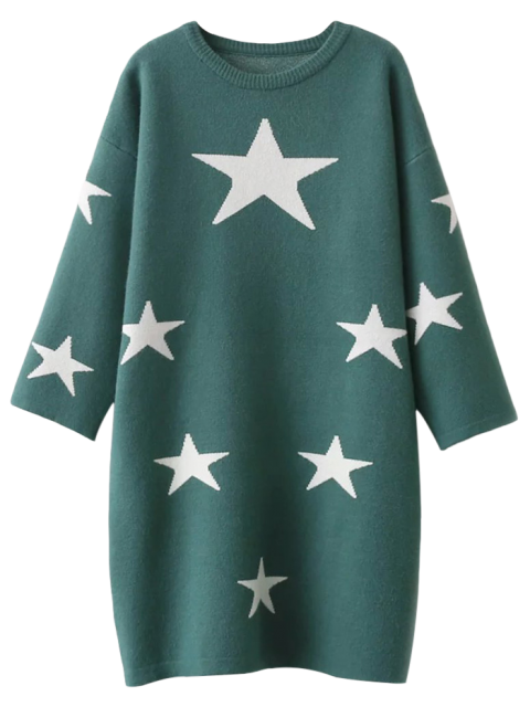 online Stars Jacquard Sweater Dress - GREEN ONE SIZE Mobile