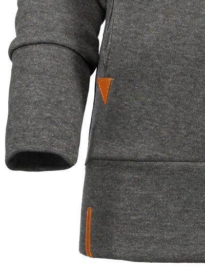 Badge Patch High Neck Drawstring Hoodie - DEEP GRAY M Mobile