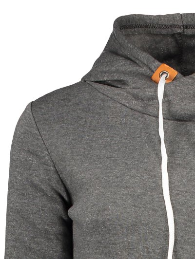 Badge Patch High Neck Drawstring Hoodie - DEEP GRAY S Mobile
