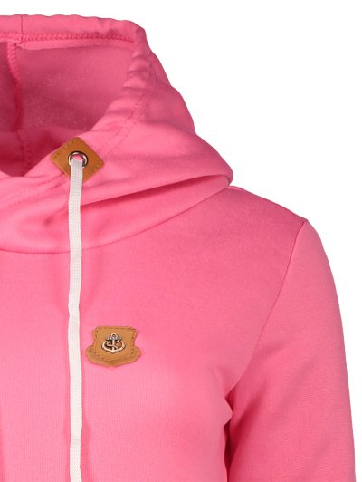 Badge Patch High Neck Drawstring Hoodie - ROSE RED S Mobile