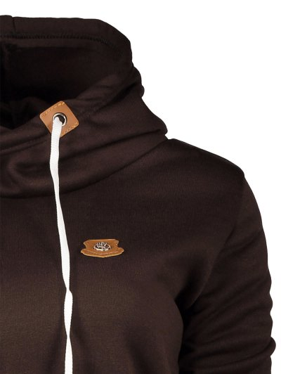 Badge Patch High Neck Drawstring Hoodie - COFFEE L Mobile