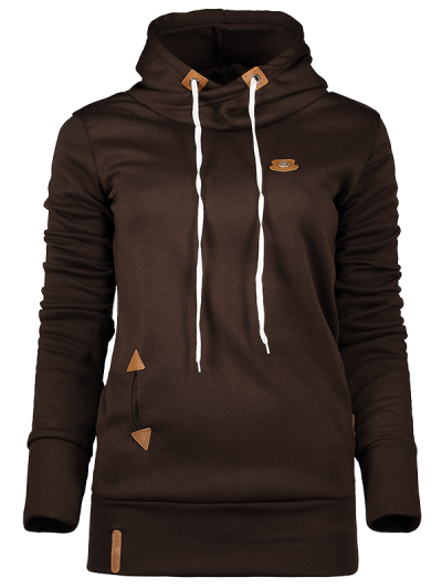 Badge Patch High Neck Drawstring Hoodie - COFFEE M Mobile