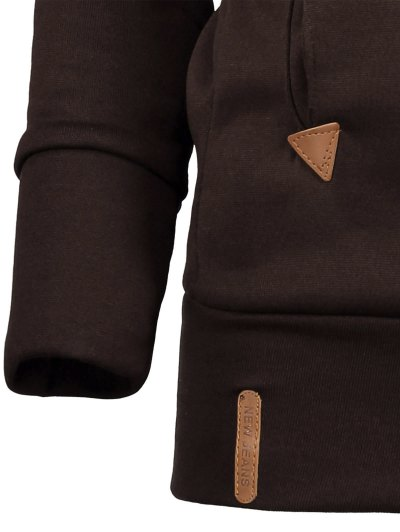 Badge Patch High Neck Drawstring Hoodie - COFFEE S Mobile