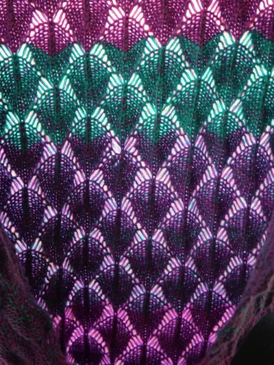 Fish Scale Crochet Yarn Mermaid Blanket Throw - PURPLE  Mobile