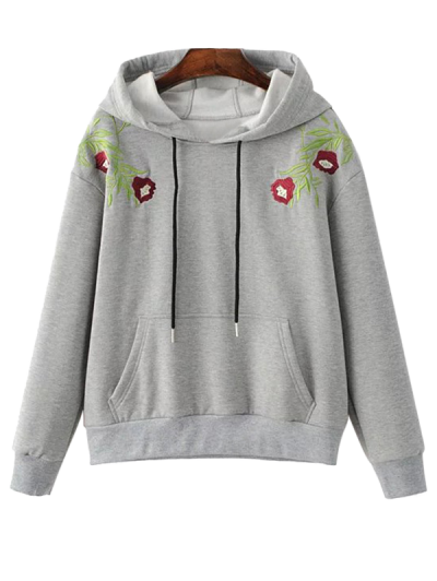 Drawstring Flower Embroidered Hoodie - GRAY S Mobile
