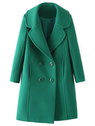 Textured Double Breasted Lapel Coat - GREEN L Mobile