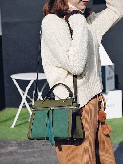 Zip Around Faux Leather Handbag - GREEN  Mobile