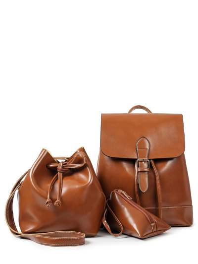 Buckle Strap Faux Leather Backpack Set - BROWN  Mobile