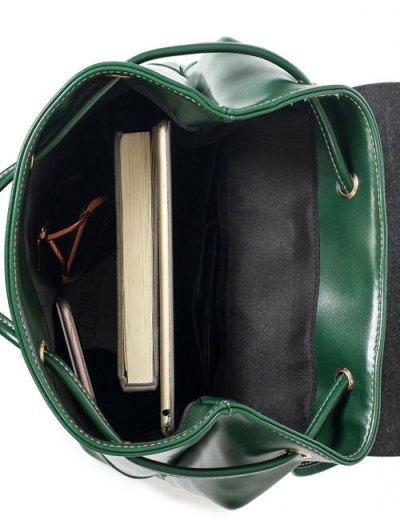 Buckle Strap Faux Leather Backpack Set - GREEN  Mobile