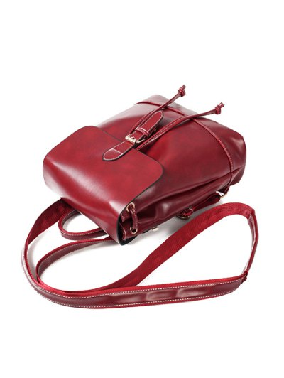 Buckle Strap Faux Leather Backpack Set - WINE RED  Mobile