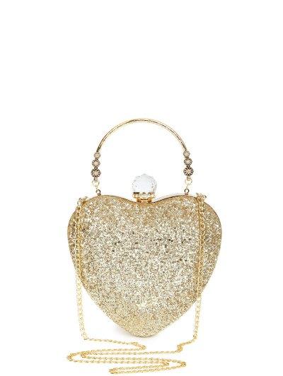 Metal Handle Heart Shape Rhinestones Evening Bag - GOLDEN  Mobile