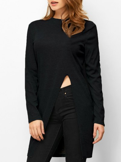 High Neck High Slit T-Shirt - BLACK M Mobile