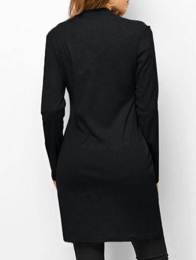 High Neck High Slit T-Shirt - BLACK L Mobile