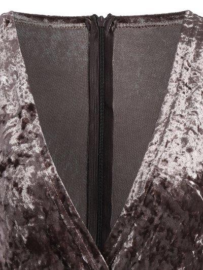 Plunging Neck Velvet Long Sleeve Bodysuit - COFFEE BROWN S Mobile