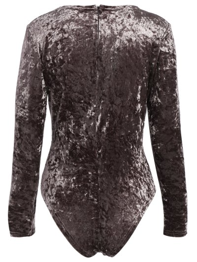 Plunging Neck Velvet Long Sleeve Bodysuit - COFFEE BROWN M Mobile