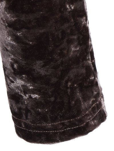 Plunging Neck Velvet Long Sleeve Bodysuit - COFFEE BROWN L Mobile