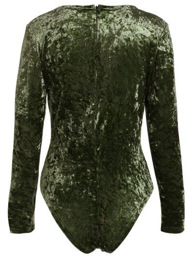 Plunging Neck Velvet Long Sleeve Bodysuit - PEARL DARKSLATEGRAY S Mobile