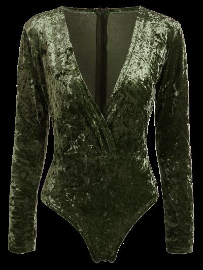 Plunging Neck Velvet Long Sleeve Bodysuit - PEARL DARKSLATEGRAY L Mobile