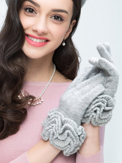 Flouncing Wool Gloves - LIGHT GRAY  Mobile