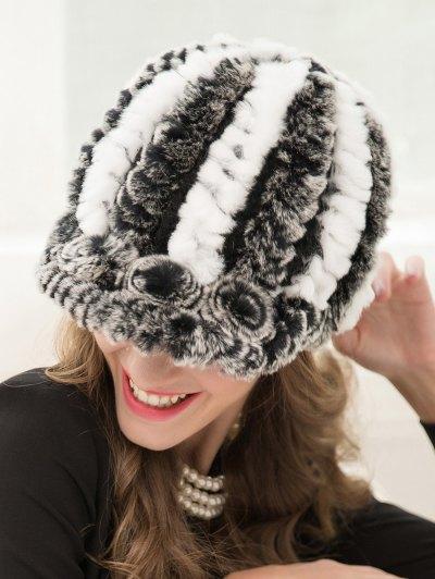 Wrasse Rabbit Hair Stripy Baseball Cap - GRAY  Mobile