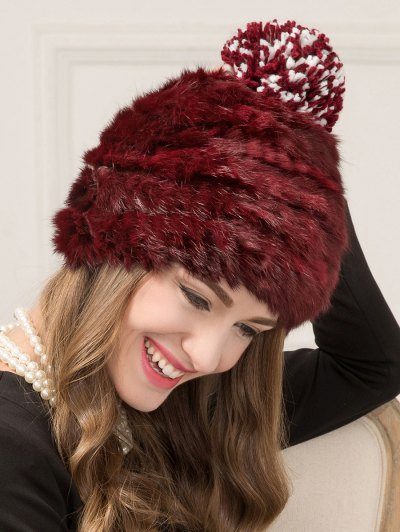 Faux Rabbit Fur Pom Hat - WINE RED  Mobile