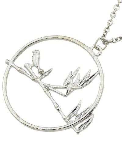 Circle Bird Pendant Necklace - SILVER  Mobile