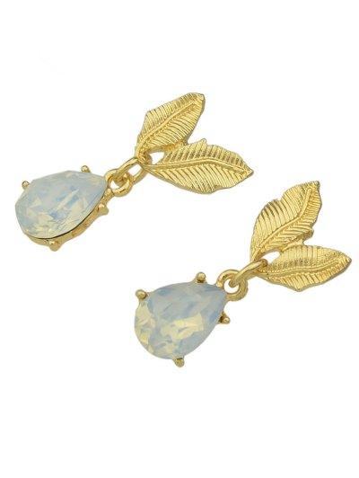 Faux Gem Teardrop Drop Earrings - GOLDEN  Mobile