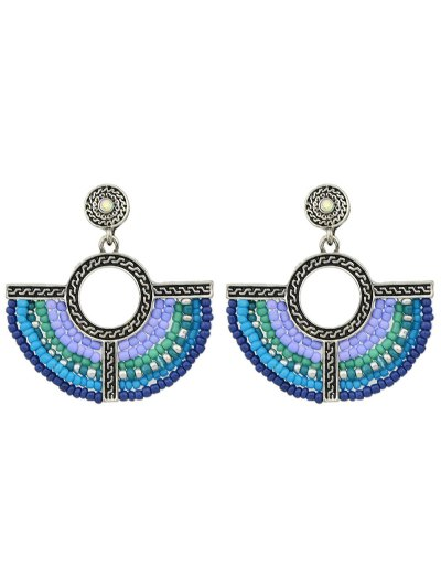 Bohemian Circle Beads Drop Earrings - SILVER  Mobile