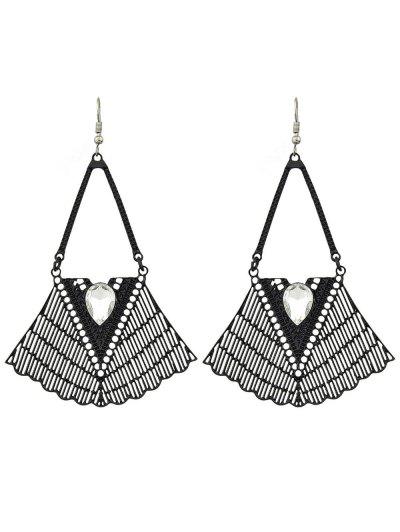 Faux Gemstone Geometric Vintage Drop Earrings - BLACK  Mobile