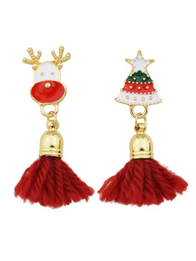 Christmas Tree Elk Tassel Asymmetric Earrings - RED  Mobile