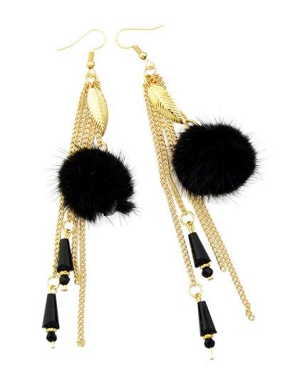 Fuzzy Ball Leaf Chain Earrings - BLACK  Mobile
