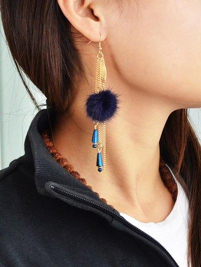 Fuzzy Ball Leaf Chain Earrings - BLUE  Mobile