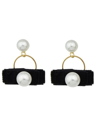 Faux Pearl Velvet Earrings - BLACK  Mobile