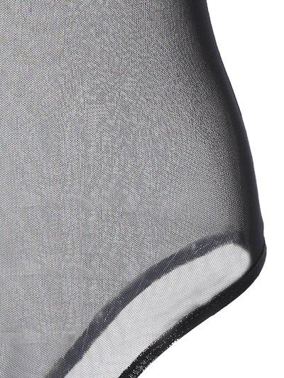 Embroidered Floral Sheer Bodysuit - BLACK XL Mobile