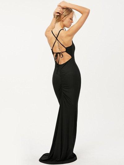 Criss Cross Ruched Trumpet Maxi Dress - BLACK S Mobile