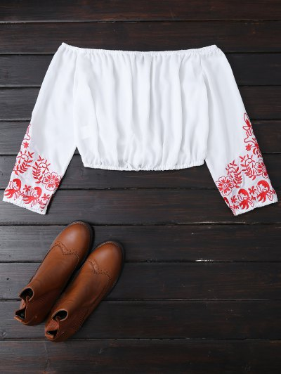 Embroidered Off Shoulder Cropped Blouse - WHITE M Mobile
