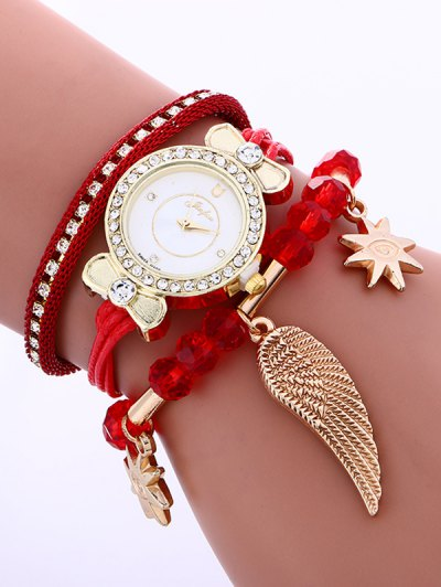Layered Rhinestone Beaded Wing Bracelet Watch - RED  Mobile