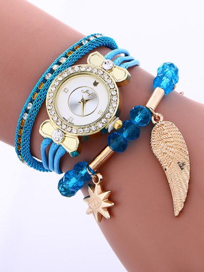 Layered Rhinestone Beaded Wing Bracelet Watch - AZURE  Mobile