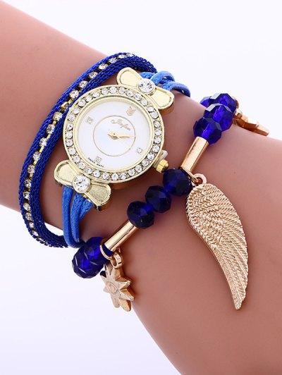 Layered Rhinestone Beaded Wing Bracelet Watch - BLUE  Mobile