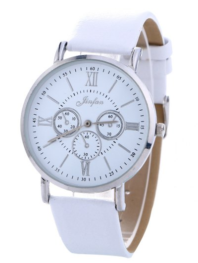 Faux Leather Roman numeral Analog Watch - WHITE  Mobile