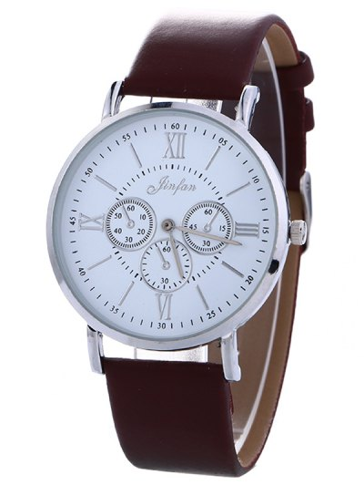 Faux Leather Roman numeral Analog Watch - BROWN  Mobile