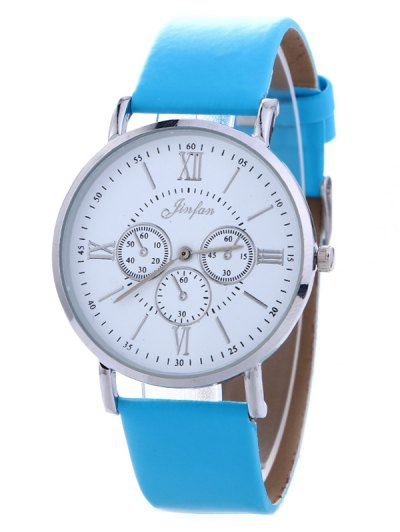Faux Leather Roman numeral Analog Watch - BLUE  Mobile