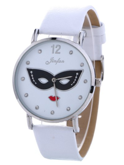 Rhinestone Mask Faux Leather Quartz Watch - WHITE  Mobile