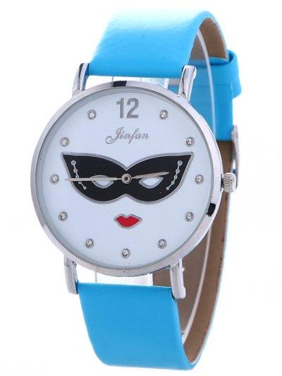 Rhinestone Mask Faux Leather Quartz Watch - BLUE  Mobile