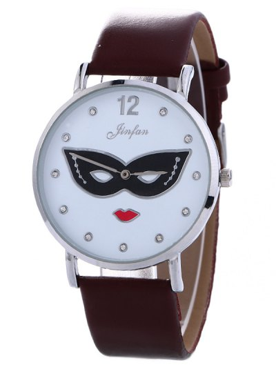 Rhinestone Mask Faux Leather Quartz Watch - BROWN  Mobile